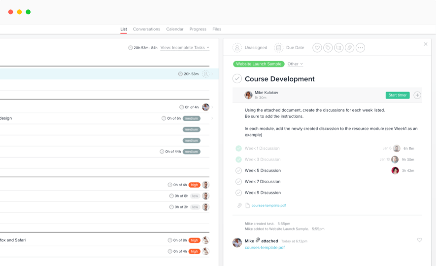 Time tracking on subtasks in Asana