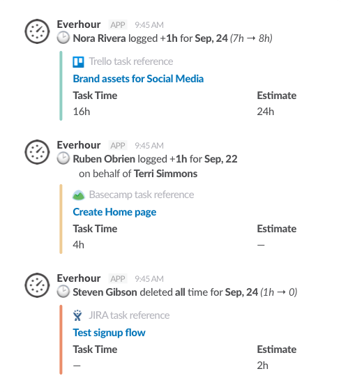 Slack time tracking integration - Adjustments