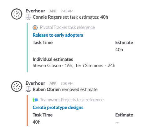 Slack time tracking integration - Estimates