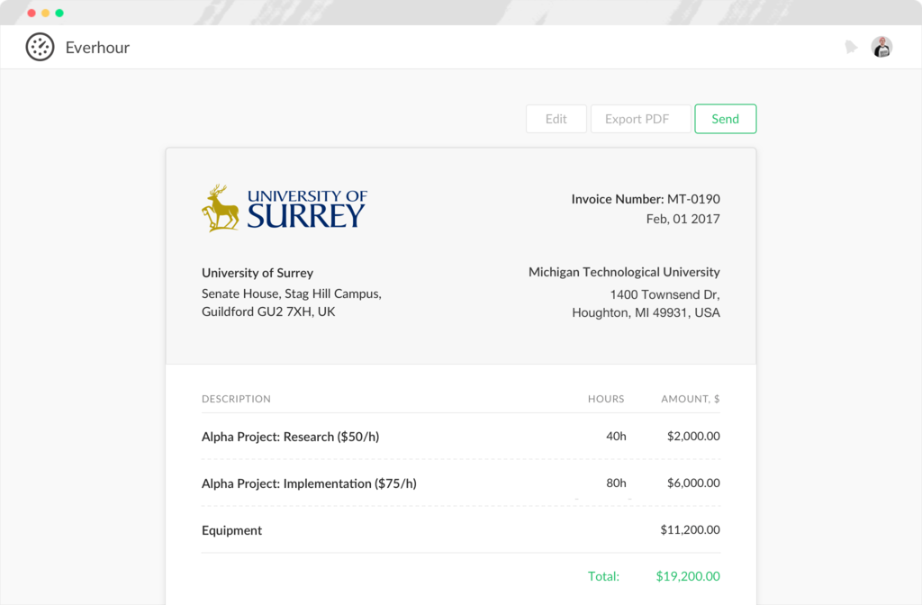 Invoice preview in Everhour screenshot