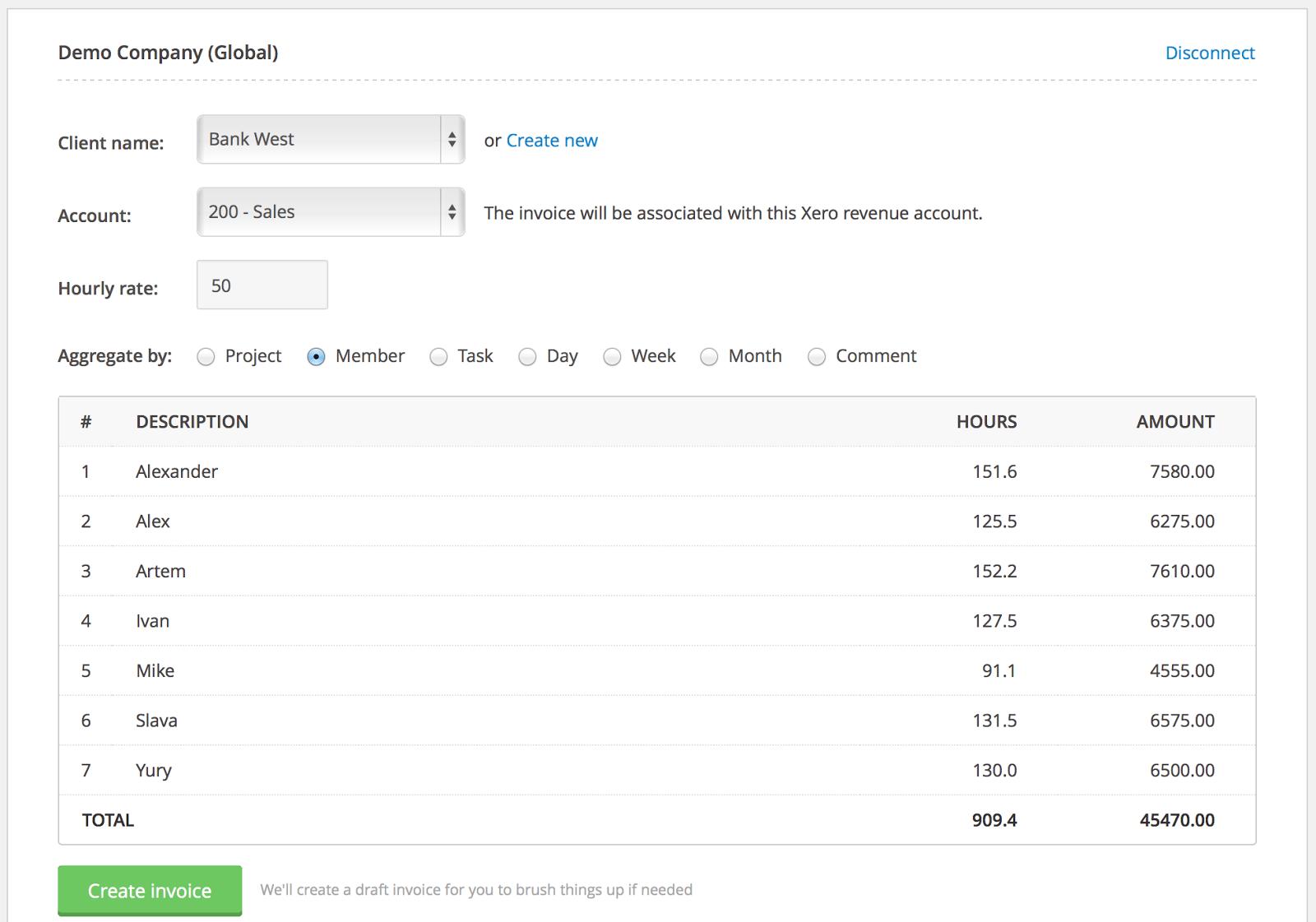 Everhour-Xero-export-invoice