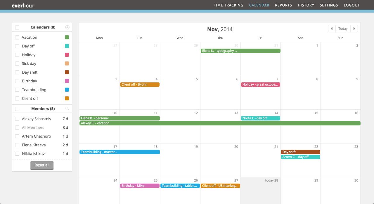 12 month calendar view
