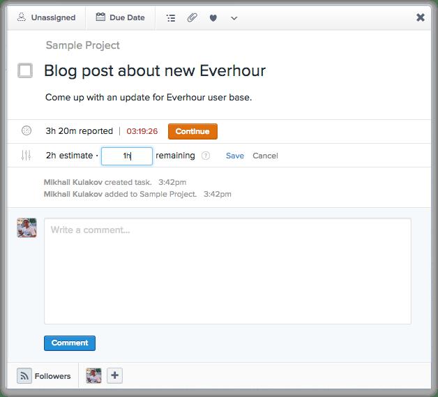 Everhour - Asana - Update Remaining Time