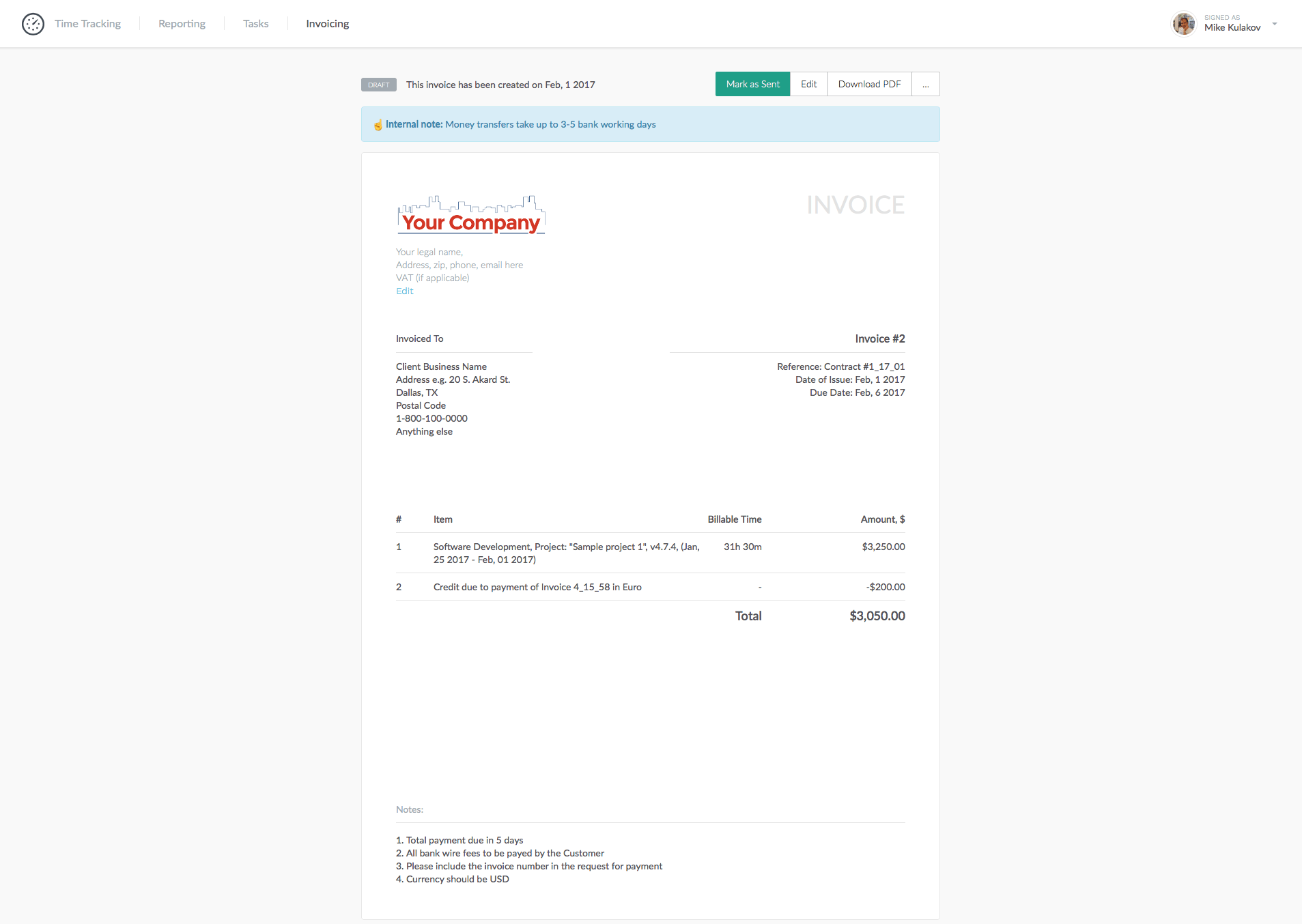 create and preview an invoice our help center everhour