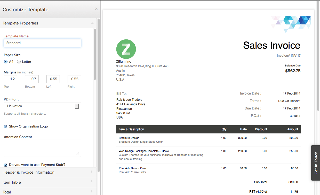 Good Billing And Invoicing Software   Zoho For Custom Invoice Software