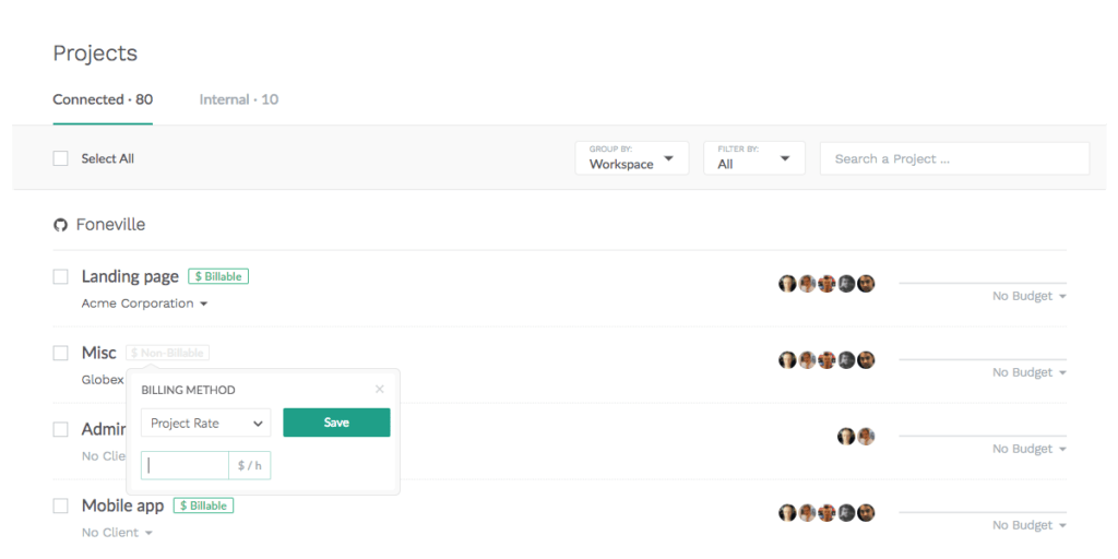 everhour new projects list - billable method
