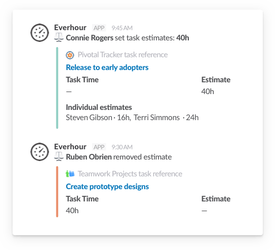 Slack time tracking - estimates