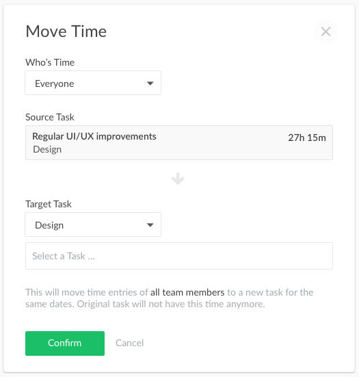 Move time to a different task