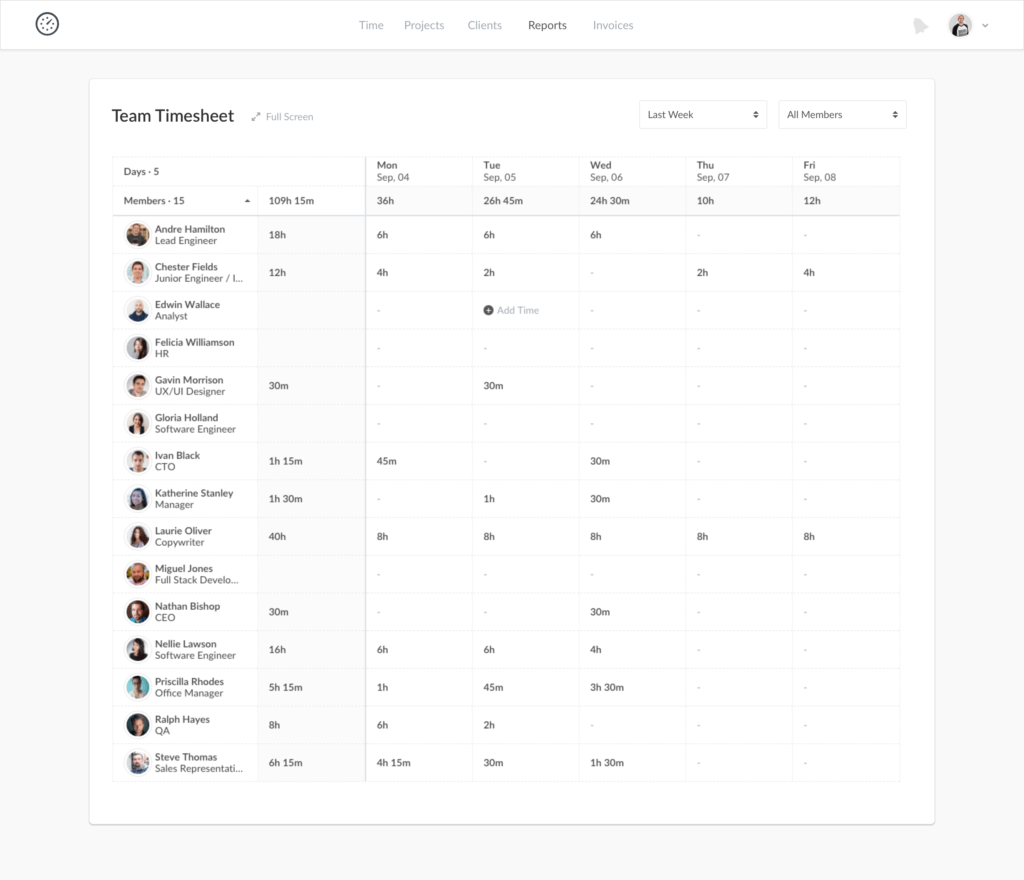 New Dashboard in Everhour - Team Timesheet