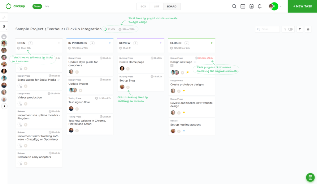 Everhour ClickUp Integration - Board View