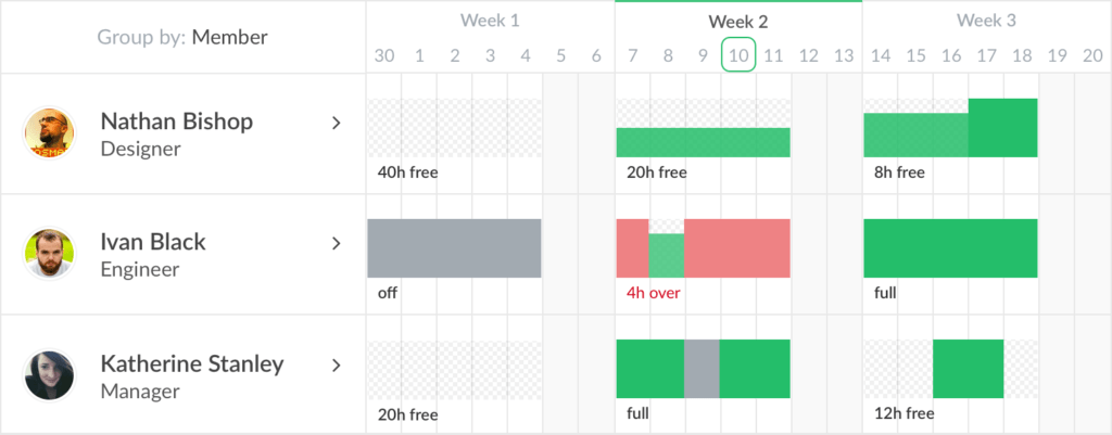 Resource Planner - Group by Member - Everhour