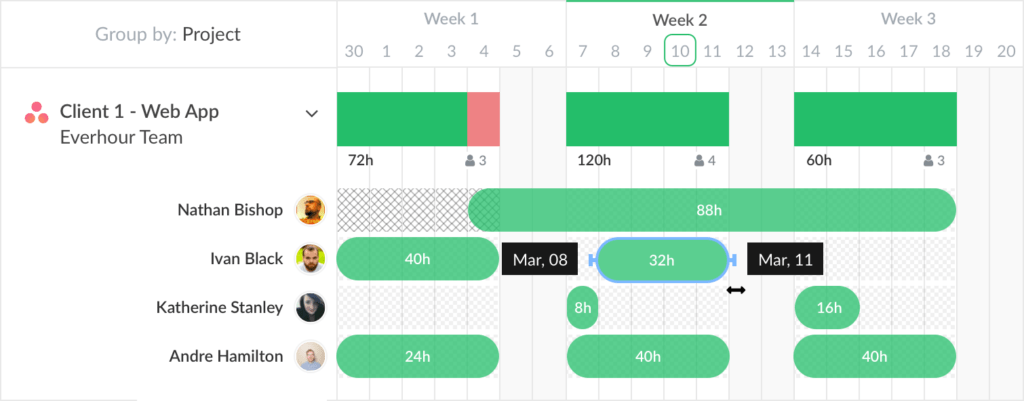 Resource Planner - Group by Project - Everhour